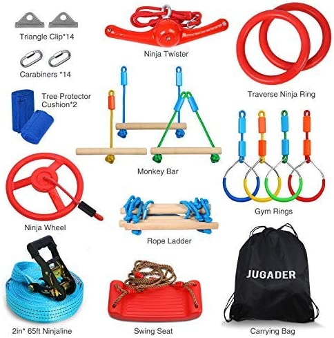 Wheel Ladder Bars 65 Ninja Slackline with 13 Accessories Swing Twister Jugader Ninja Warrior Obstacle Course for Kids Rings