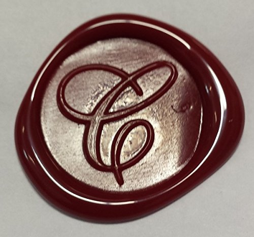 100 pack of Wax Seals: Self adhesive wax seal sticker - C - Shelley Allegro Font - Red - 1