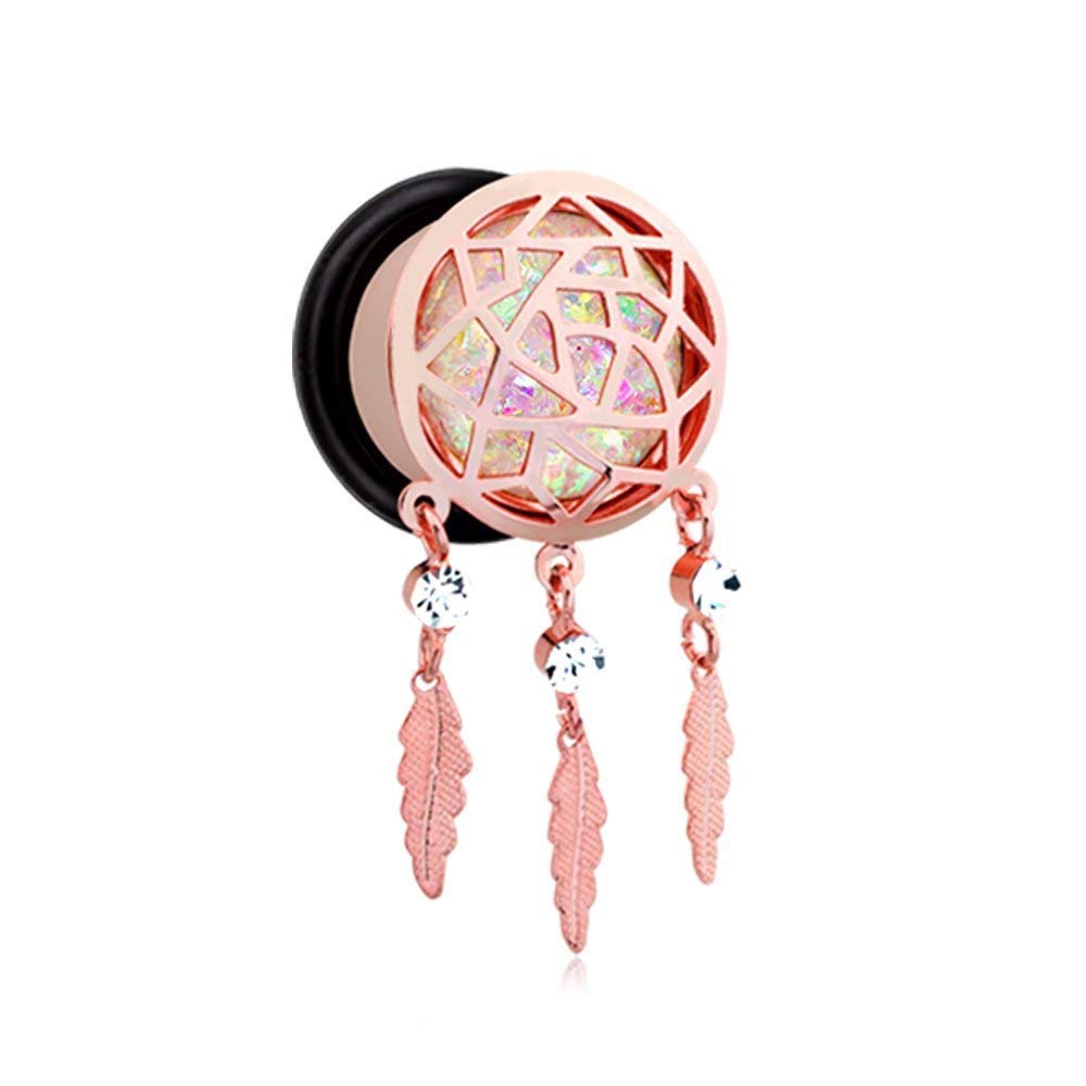 Covet Jewelry Rose Gold Opal Sparkle Dreamcatcher Single Flared Ear Gauge Plug