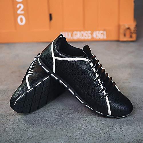 Planas Zapatos Cuero Transpirable Moda Zapatillas Casual ALIKEEY Hombres De Negro UtcqB6C86w