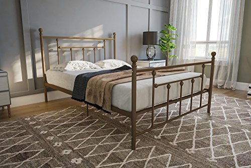 DHP Manila Metal Bed with Victorian Style Headboard and Footboard, Includes Metal Slats, Full Size, (Gold Victorian Frame)