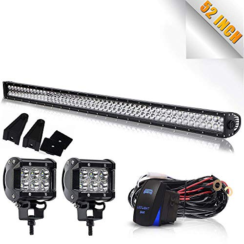 "TURBOSII DOT 52Inch Led Light Bar Spot Flood Combo Offroad Work Lights + 4"" Pods Cube Fog Lights + Rocker Switch Wiring Harness Kit For Jeep Truck ATV SUV UTV 4x4 Pickup Polaris RZR Boat Golf Cart"