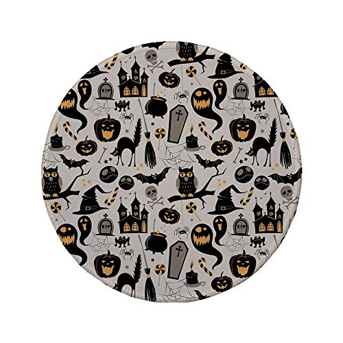 Non-Slip Rubber Round Mouse Pad,Vintage Halloween,Halloween Cartoon Jack o Lantern Tombstone Skulls and Bones Decorative,Light Grey Multicolor,7.87