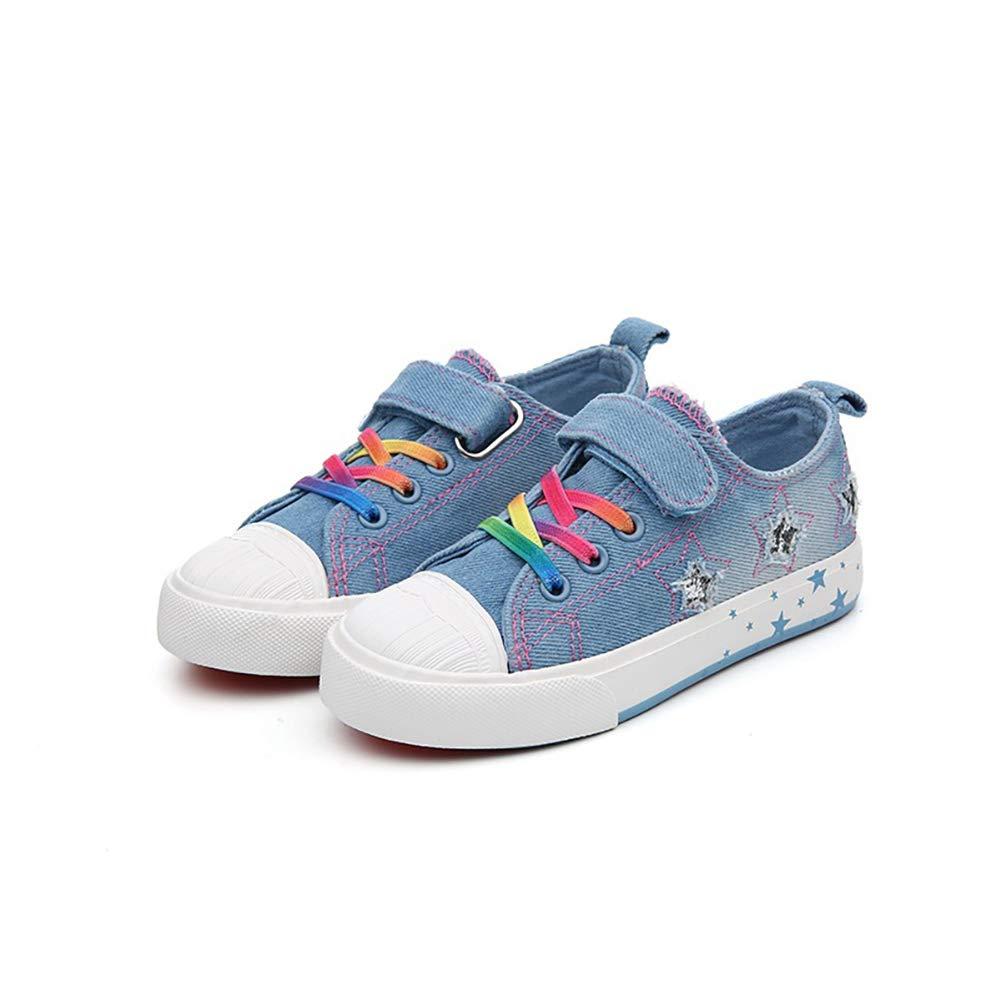 JINGJING Girls Washable Denim Sport Flat Canvas Shoes Low Top//Low Cut Fashion Sneakers Little Kid//Big Kid