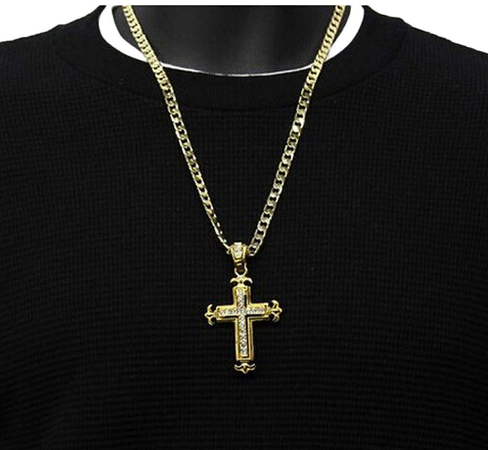 Gbell Clearance! Men Boys Hip-hop Rhinestone Cross Pendant Cuban Necklace Chain - Sharp Sides Necklace Statement Jewelry Gifts (Gold)