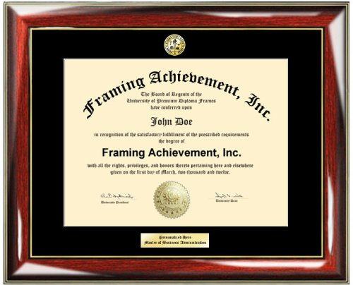 Premium Glossy Prestige with Gold Accents University Certificate Frame - Engraved Matted University Diploma Frame Personalized Gold or Silver Engraved Plate - Choice of College Major Gold Seal Insignia - Single Black Mat