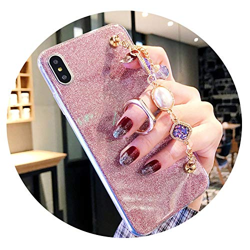 Glitter Ring Buckle Back Fitted Case iphone5/5C/6plus/7G/8plus Diamond Bracelet DIY Cover iphoneX/XS/XR/XS Max Case,Pink,iPhone 6G 6S