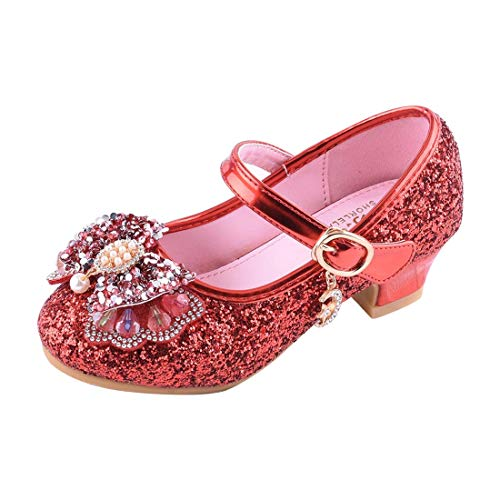 YIBLBOX Kids Girls Mary Jane Wedding Party Shoes Glitter Bridesmaids Low Heels Princess Dress ()