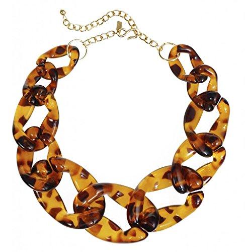 Chain Necklace Tortoiseshell Chunky Resin Chain Jewelry Costume Tortoise Shell Graduated Links (Jackie O Costume Jewelry)