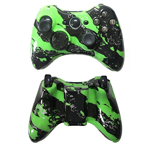 (Xbox 360 Shell & Button Kit for Wireless Controller Case Hydro Dipped Green Splatter)