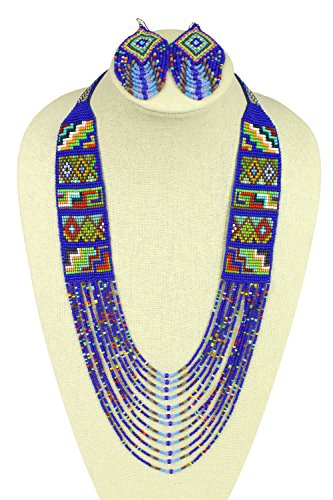 Sanyork Fair Trade NE722-551 Art Glass Crystal Beads Mesa Southwest Necklace & Earrings Set Handmade Jewelry from Sanyork Fair Trade