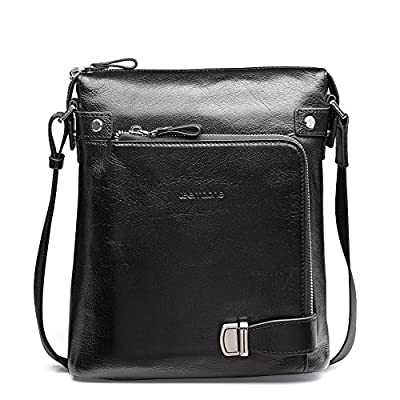c684845400 cheap Teemzone Men s Genuine Leather Messenger Shoulder School Bag Satchel  Cross Body (Black)