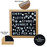 Felt Letter Board 10X 10 Changeable Message Sign with Oak Wood Frame, Display Stand Easel & Wall Hook 300 Characters with Emoji's & Symbols- Durable Canvas Carrying Bag Personal Message Board For All