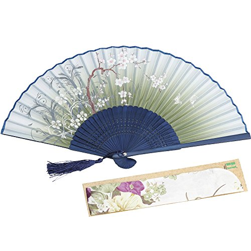 (Luck with bamboo Chinese/Japanese Vintage Retro Fabric Fans for Girls Women, Hand Held Folding Fans for Wedding,Dancing,Birthday,Party,Decoration,Gifts,with a Fabric Sleeve for Protection (Green))