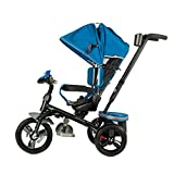 Evezo 302A 4-in-1 Parent Push Tricycle for Kids, Reclining Trike, Convertible, Blue