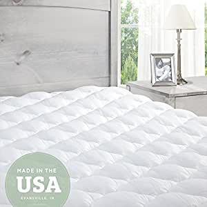 down com amazon pad pillow topper top cover inch dp pillowtop queen size with alternative mattress balichun