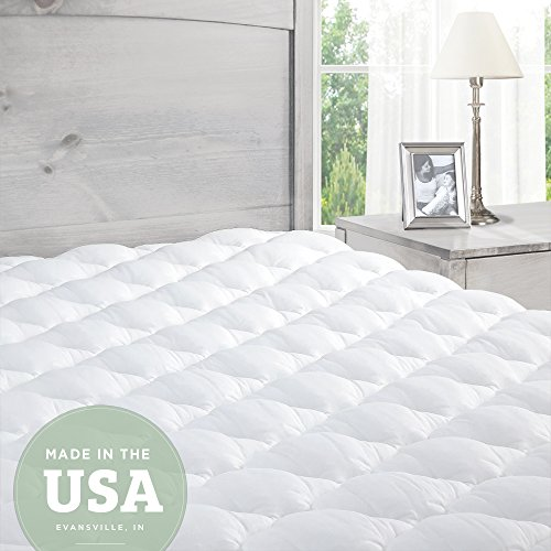 Mattress Pad Bedding (Pillowtop Mattress Pad with Fitted Skirt - Extra Plush Topper Found in Marriott Hotels - Made in the USA, Twin)