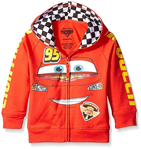 (Disney Little Boys' Toddler Cars '95 Hoodie, Red, 2T)