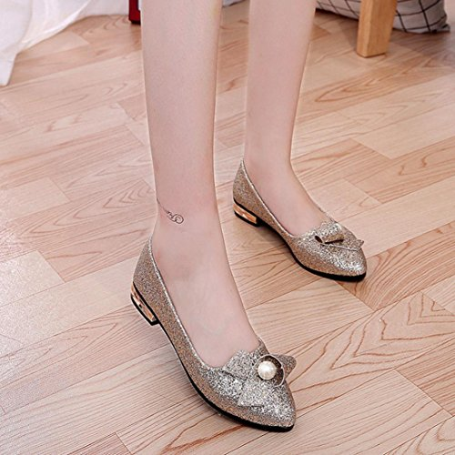 c1e5793ccdb Sikye Women Fashion Loafers Shoes Solid Bead Ballet Slip On Glitter Flat  for Party Wedding low
