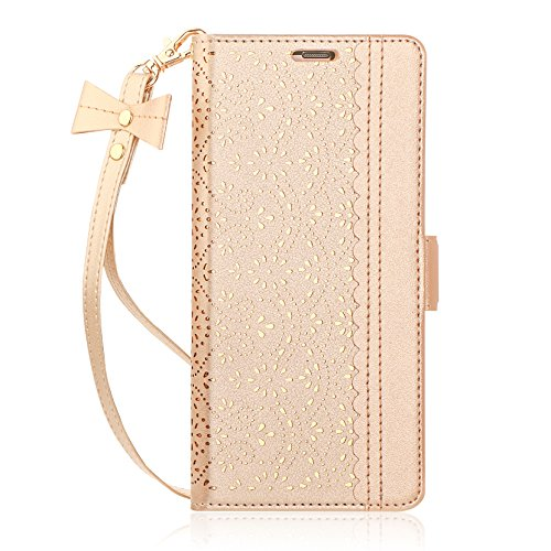 WWW iPhone Xs Max (6.5 inch) 2018 Case, [Luxurious Romantic Carved Flower] Leather Wallet Case with [Inside Makeup Mirror] and [Kickstand Feature] for iPhone Xs Max 6.5 Inch (2018 Released) Gold