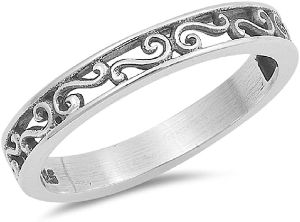 CloseoutWarehouse Sterling Silver Half Way Filigree Band Ring