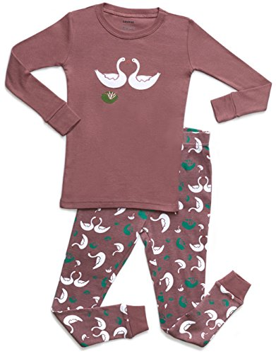 Leveret Organic Cotton Swan 2 Piece Pajama Set 8 Years by Leveret