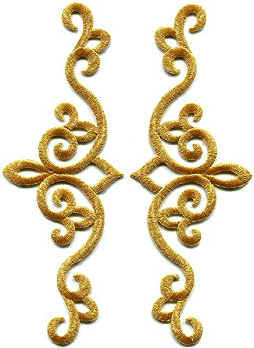 Gold trim fleur de lis fringe boho retro sew sewing embellishment embroidered applique iron-on patch new. 2.5 x 7 inches.