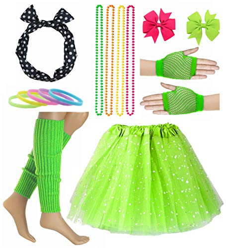 Girl 80s Star Sequin Tutu Skirt with Neon Necklace Bow Headband Hair Clip Set (Green)