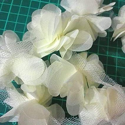 ce7a916a93613 Amazon.com: Laliva 24pcs Flowers 3D Chiffon Cluster Flowers Lace ...