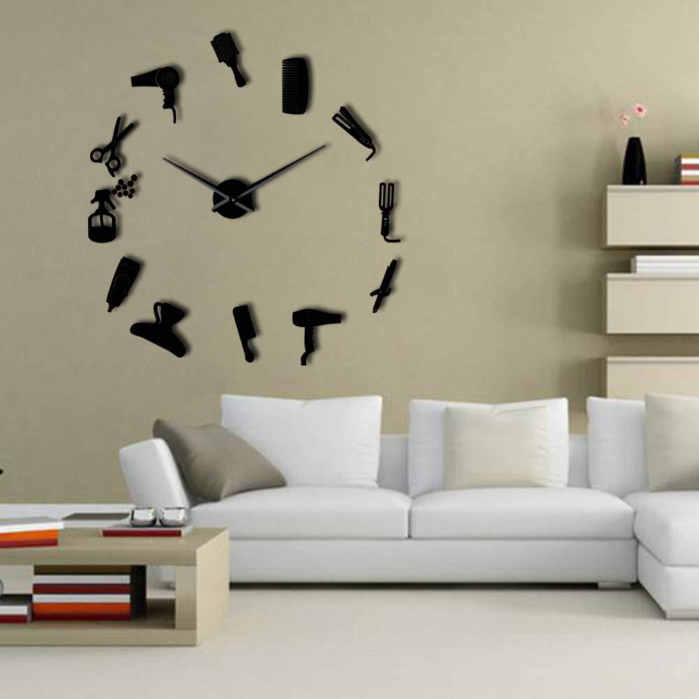 CNCN Horloge Murale de Bricolage Barber avec Effet Miroir Barber Outils d/écoratifs Art de Mur Horloge sans Cadre pour barbier 27inch