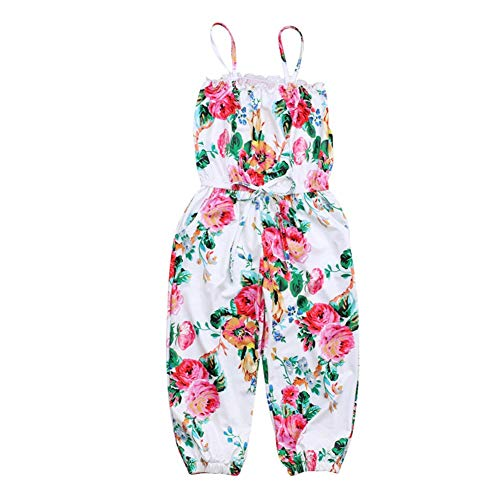 2019 Toddler Little Girls One-Pieces Floral Corset Romper Jumpsuit Harem Pants Overalls (Red, 4-5T)