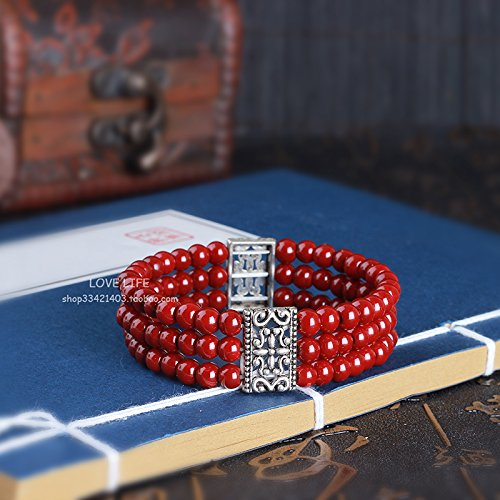 Rows Red Coral Bracelet (Imitation coral bracelet three rows of multi-row Tibetan silver jewelry girlfriend birthday gift Ja and South Korea animal year red bride married)