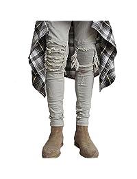 Ripped jeans for men skinny Distressed hip hop slim jeans denim biker jeans trousers