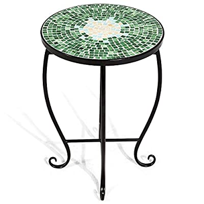 Giantex Mosaic Round Side Accent Table Patio Plant Stand Porch Beach Theme Balcony Back Deck Pool Decor Metal Cobalt Glass Top Indoor Outdoor Coffee End Table