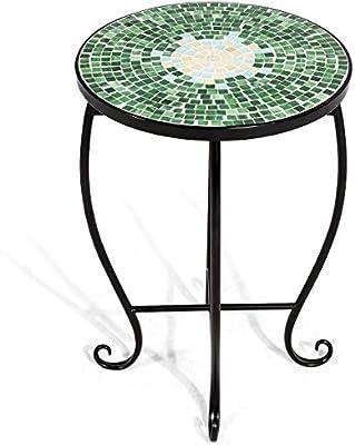 Amazon Com Giantex Mosaic Round Side Accent Table Patio Plant