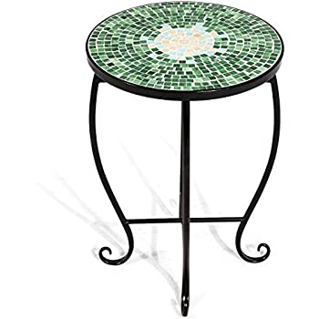 Giantex Mosaic Round Side Accent Table Patio Plant Stand Porch Beach Theme  Balcony Back Deck Pool Decor Metal Cobalt Glass Top Indoor Outdoor Coffee  End ...