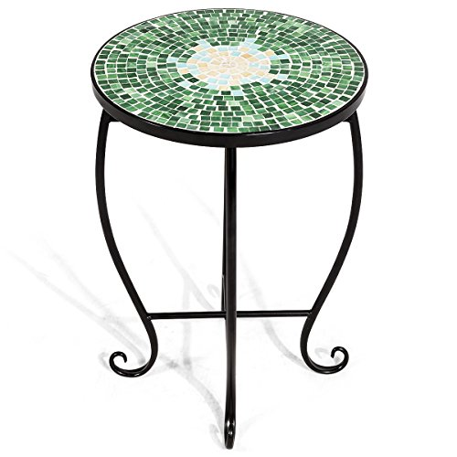 Giantex Mosaic Round Side Accent Table Patio Plant Stand Porch Beach Theme Balcony Back Deck Pool Decor Metal Cobalt Glass Top Indoor Outdoor Coffee End Table Secret Garden
