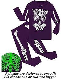 Girls Halloween Pajamas Kids Pjs Skeleton Glow-in-The-Dark Toddler Halloween Clothes
