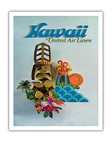 Pacifica Island Art Hawaii - United Air Lines - Tiki - Vintage Airline Travel Poster c.1971 - Hawaiian Fine Art Print - 11in x 14in (1971 Poster Print)