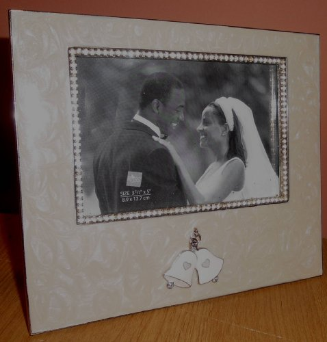 Russ Ceramic and Metal Picture Frame with Dangle Wedding Bells - 3 1/2
