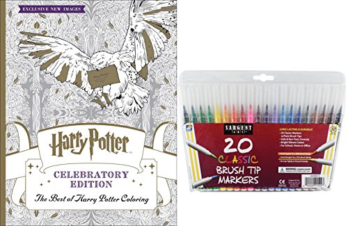 The Best of Harry Potter Coloring Book, Celebratory Edition & 20 Sargent Art Firm Brush Tip Marker Pens Gift Set – Color Your Favorite Magical Hogwarts Creatures, Scenes & Characters - For All Ages