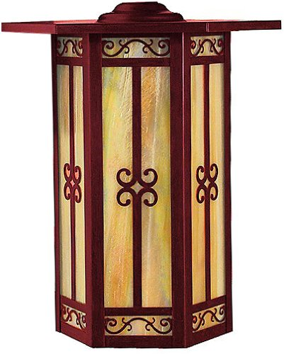 Arroyo Craftsman LIC-9-GW-RC Lily Collection 1-Light Column Mount, Raw Copper Finish with Gold White Iridescent Glass