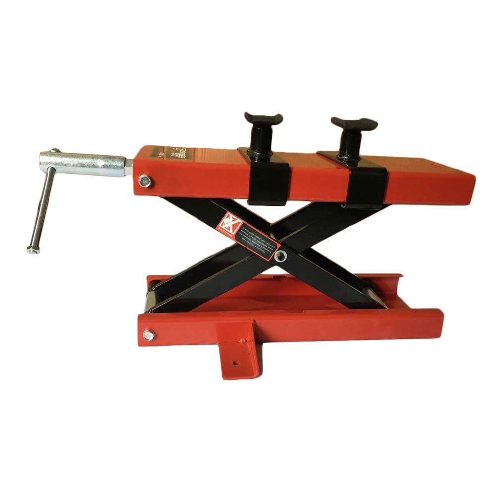1100LB Center Scissor Lift Jack Hoist Stand Wide Deck for ATV Motorcycle Dirt Bike Scooter Crank Stand Red