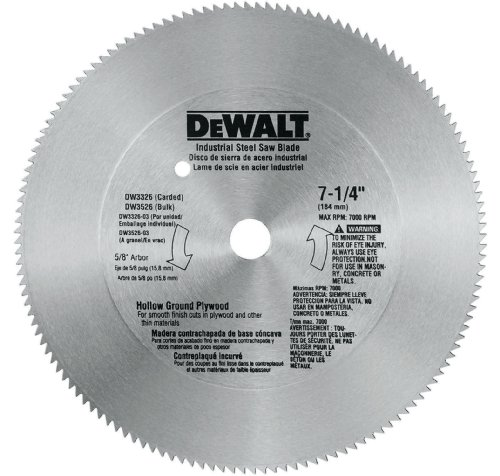 - DEWALT DW3326 7-1/4-Inch 140 Tooth Hollow Ground Plywood Cutting Saw Blade with 5/8-Inch and Diamond Knockout Arbor