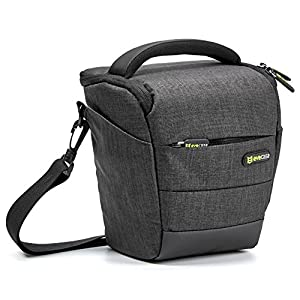 Camera Case, Evecase Digital SLR / DSLR Professional Camera Shoulder Bag For Compact system, Hybrid, Mirrorless, Micro 4/3 and High Zoom Camera - Black