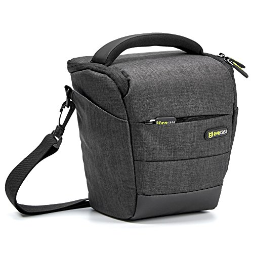 Camera Case, Evecase Digital SLR/DSLR Professional Camera Shoulder Bag for Compact System, Hybrid, Mirrorless, Micro 4/3 and High Zoom Camera - Black ()