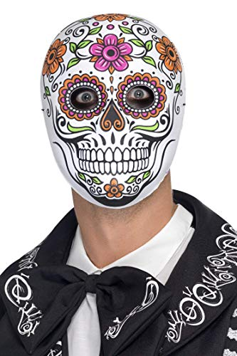 Smiffys Men's Mexican Day of the Dead Mask, Skull Mask, White, One Size, 45218 -