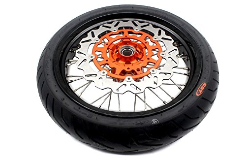 KKE KTM SUPERMOTO WHEELS RIMS SET KIT & TIRE EXC SX XCW XCF 125 250 350 530 3.5/5.0 SUPERMOTO WHEEL SET WITH TIRE & DISC by KKE (Image #6)