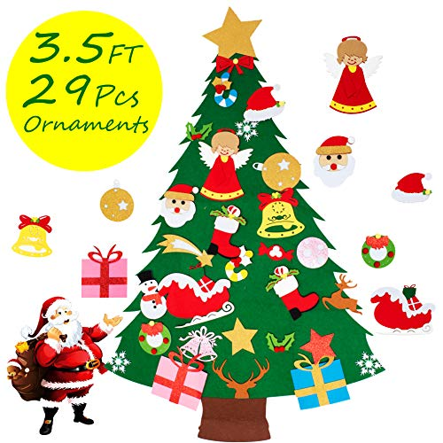 COCOMOON Felt Christmas Tree for Kids - 29 Pcs Ornaments Wall Decor with Hanging Rope for Toddlers Xmas Gifts Home Door Decoration (Felt Christmas Tree for Kids) (Hat Decorate Christmas)