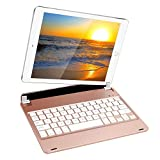 Detachable New 2017 ipad 9.7 inch keyboard,Kiwetaso ipad 5th generation case with keyboard compatible with ipad Air with groove panel design for (ipad 9.7inch & ipad Air) Rose Gold